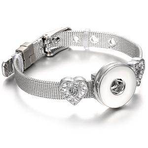 Newest 18mm Snap Jewelry Bracelets Stainless Steel Love Heart Flower Charm Bracelet Fit DIY 18mm 20mm Snap Buttons Jewelry
