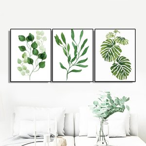 Laeacco Canvas Painting Calligraphy 3 Panel Green Leaf Carteles e impresiones Wall Art Pictures para sala de estar Decoración del hogar