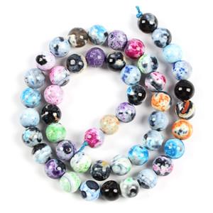 Natural Stone Bead colori Fire Dragon Veins Agate Onice allentato rotondo Perle per monili che fanno 6/8/10/12 mm fai da te Bracciale Collane