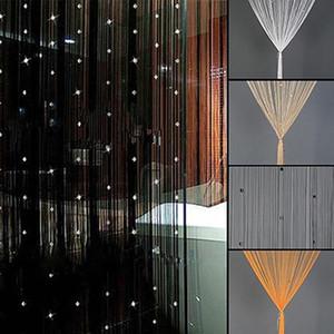 Frisado corda cortina translúcida Porta Bead cortinas quarto divisor Valances Tassel Preto Janela Cortinas parede Decoração