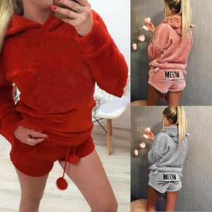 Kış Kadın Fanila Pijama Takımı Ayı Kapşonlu Pijama Kış Sıcak Coral Polar pijamalar