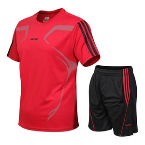 5XL Correr camiseta del gimnasio del deporte camiseta de manga corta Fútbol Baloncesto Tenis camisa de secado rápido de la aptitud de los deportes fijados Trajes de deporte
