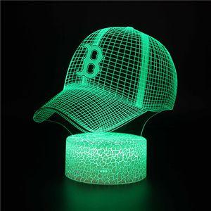 Sons için Doğum Günü Hediyeleri olarak Çocuk odası Dekoratif Masa Lambası Beyzbol Şapka Tasarımı 3D LED Gece Işığı
