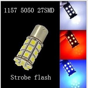 10pcs P21 5W S25 27SMD BA15S LED Auto strobe flash BAY15D 1157 Auto strobe flash 27SMD 5050 LED bulb car rear lamp stop lights
