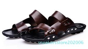 All'ingrosso-Men vibrazione del cuoio genuino Flops chinelo MASCULINO Moda Uomo Pantofole spiaggia di estate Outdoor Scarpe Uomo Casual Sandali S06