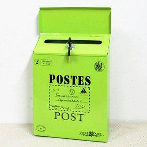 Настенный с замком Почтовый Красочные Letter Box Home Decor Старинные украшения Yard Mailbox износостойкая краска Газета Железо