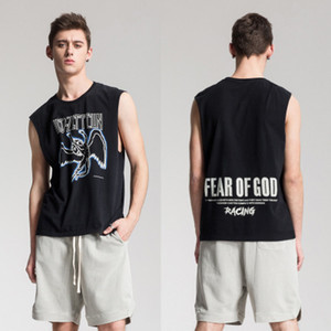 Diseñador Street Tide FEAR OF GOD Chaleco FOG FEAR OF GOD Chaleco sin mangas Rock Chaleco Retro Wash Top Camiseta Baggy Popular Logo Camiseta para hombre