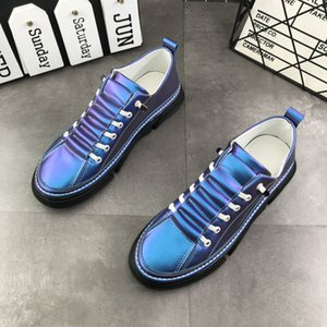 2020 New Arrival Fashion Men Casual Shoes Round Toe Lace Up Shiny Silver Man Flat Platform Leisure Shoes Younger