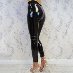 Womens Lady Strethcy Shiny PU Leather Leggings Black Trouser Pants Bottoms Fitness Exercise Pants Long Trouser Pantalon Mujer