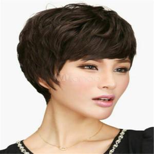 % 100 İnsan Saç Yeni Zarif Kadın Kısa Doğal Dark Brown Düz Tam Peruk