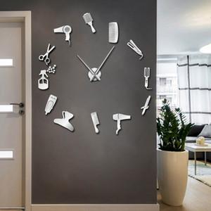 Barber Shop Hair Tools Oversized DIY Wall Clock Frameless Hair Salon Big Time Clock Fashion Hairdresser User-defined Room Decor