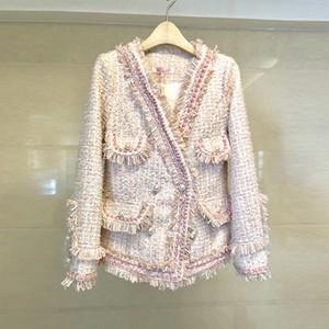 Herbst Winter Neue Ankunft Tweed Jacke Mantel Damenmode Elegante Langarm Schlank Quaste Perle Taste Arbeit Oberbekleidung