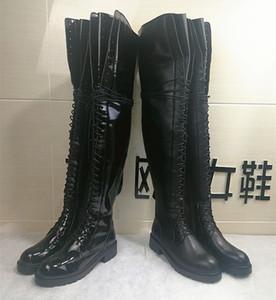 ANN envío libre 2019 nuevas bombas de cuero de suela gruesa 4 CM tacón alto con cordones de más de la rodilla cargadores del caballero largo del muslo de alta patea los zapatos 34-40