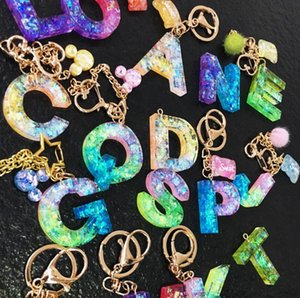 26 Harfler anahtarlık şeker renk tatlı mektup İlk Harf Anahtarlık DIY Çocuk zinciri 36 Adet BBA18