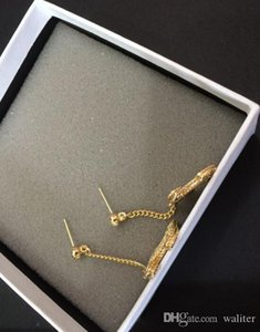 Popular fashion High version gold color drop earring for lady women lady jewelry for Bride With black flannel bag
