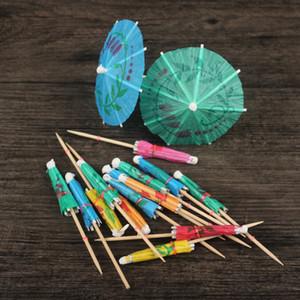 우산 대나무 막대기 모양 과일 포크 칵테일 장식 Garnishes 스낵 케이크 과일 표시 10 cm 긴