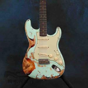Yüksek kaliteli Kızılağaç Gövde Gülağacı Relic Mavi Ücretsiz Kargo Strat Electric Guitar Yaşlı