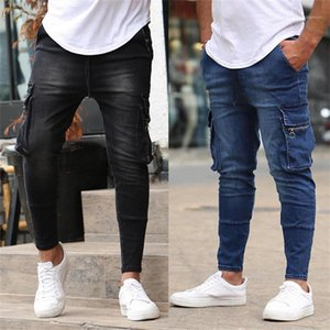 Стильный Solid Color Мульти карманный Мужской Дизайнерские Новые джинсы мужские Zip триммера Stretch повседневные джинсы