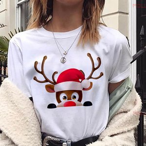 MLCRIYG nueva moda mujer camiseta Kawaii Reno camiseta mujer Navidad Harajuku manga corta Camiseta blanca camiseta Tops ropa