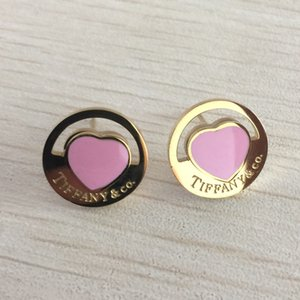 New Arrival Gold Heart Love Ear Studs Pink Color Stainless Steel Earrings Classic Design Earrings For Women Party Gifts Wholesale