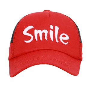 Summer Peaked Cap Smile Letter Printed Mesh Baseball Hat Children Outdoor Headwear With Adjustable Back Closure New