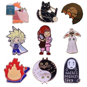 K2041 Spirited Away No face Man Metal Enamel Pins and Brooches for Lapel Pin Backpack Bags Anime Badge Collection Gifts