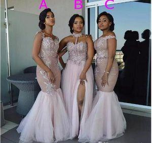 Vestidos de dama de honra de sereia africana Vestidos Long Misturados Appliques Off Ombro Wedding Convidado Desgaste Split Lateral Doméstica de Honra Vestido de Prom