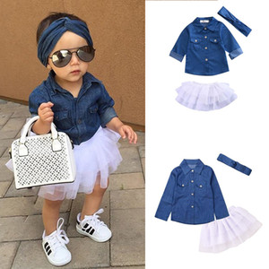 Baby Girl Denim Fashion Set Clothing Niños Camisetas de manga larga Top + Pantalones cortos Falda + Diadema de arco 3pcs Trajes para niños