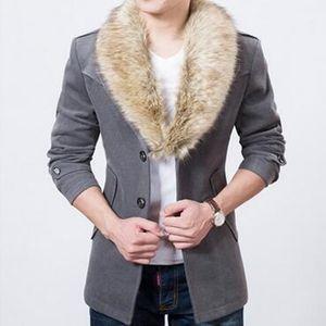 Escudo gótico Trench caliente Hombres invierno gruesa de lana Blend Escudo Abrigo para hombre delgado de guisante con la piel de imitación de lana de cuello de Corea de los hombres