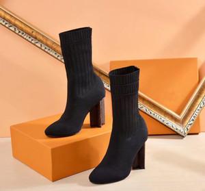 neueste 2sexy Damenschuhe im Herbst und Winter Gestrickte Gummistiefel LuxuryL Designers Kurze Stiefel Socken Stiefel Große Schuhe mit hohen Absätzen