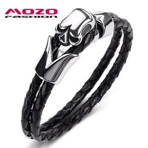 Mode Bangle Bijoux pour hommes NOUVEAU Hot Noir Double couche en cuir Bracelet en acier inoxydable Punk Skull Charm Bracelet simple PS1017