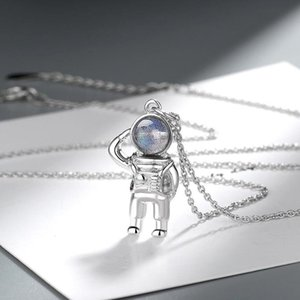 KOFSAC New 925 Sterling Silver Necklace For Men Women Fashion Jewelry Crystal Wandering Earth Astronaut Pendant Necklace Unisex