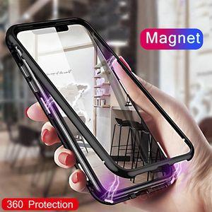 Magnetic Caso adsorção de metal para iPhone para 11 XR XS MAX Samsung NOTA 10 Caso corpo Full Metal com Voltar vidro temperado