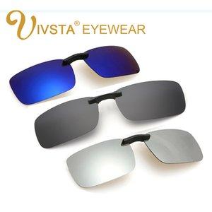 IVSTA Clips Sunglasses Men Clip On Sunglasses Flip Up Rectangle Polarized Lenses for myopia Hyperopia Prescription 003 Mirror