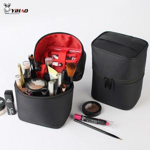 Yihao Frauen tonnenförmige kosmetischer Beutel bilden Fall Zipper Beauty Wash Box Kultur Organizer Kosmetikerin Necessary
