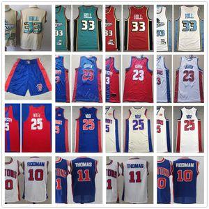 2020 New Basketball Derrick 25 Rose Blake 23 Griffin Jerseys Stitched Retro Grant 33 Hill Dennis 10 Rodman Isiah 11 Thomas Jerseys Blue