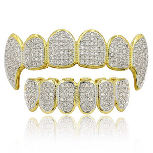 Hip Hop Grillz Luxury Gloring Zircon Micro Pave Dental Grills 2019 Moda Uomo Donna 18K Gold Plated Denti Parentesi 2 pezzi Set all'ingrosso LP022