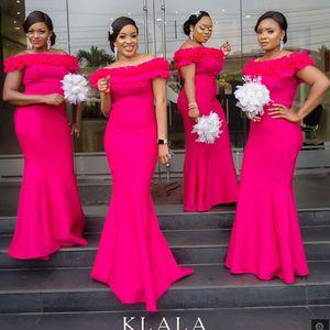 2020 Nueva fucsia de la sirena vestidos de dama largo de las colmenas del hombro del traje Demoiselle d'honneur huésped de la boda vestido para las mujeres
