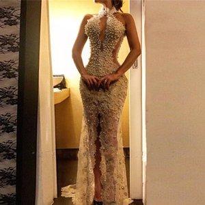 Супер вечернее платье vestido de festa longo бисером платье выпускного вечера Холтер спереди Сплит вечернее платье на заказ robe de soiree abendkleider