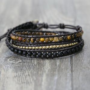 Einzigartiges Mixed Dreifach Einfach Leder Perlenarmband, Tigerauge, Kupfer, Schwarze Perlen Perlenarmband Freundschaft Armbänder Schmuck