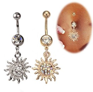 New Belly Bars Belly Button Rings Belly Piercing Crystal Flower Body Jewelry Navel Piercing Rings Flower Shape Pendant Sunflower