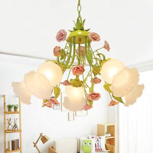현대 유럽 샹들리에 램프 D52cm D60cm 광택 그린 컬러 펜던트 핑크 장미 꽃 조명기구 E14 장식 디자인 무료 배송