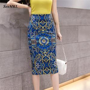 SEXMKL колена Печатного карандаш Юбка Женской 2020 корейской мода высокой талия Юбка офис Sexy Lady Элегантная летняя Обычная юбка