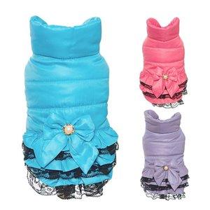 Winter Warm New Hundekleid kleidet Sweety Bowknot Haustier Prinzessin Kleider für Welpen Katzen Teddy Winterkleid Hundekleid