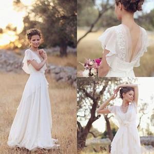 Günstige Bohemian Hippie Style Brautkleider Strand A-Linie Brautkleid Brautkleider Backless White Lace Chiffon Boho