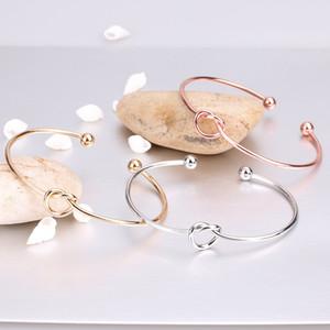 2019 lega di zinco in oro rosa di colore cravatta braccialetto del nodo Bangles Simple Twist polsino aperto dei braccialetti gioielli braccialetto regolabile per le donne Monili Gifts