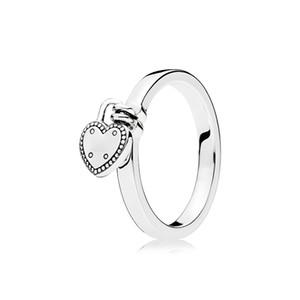 925 فضة الحب قفل حلقة المربع الأصلي ل باندورا القلب قلادة المرأة الزفاف هدية مجوهرات خاتم مجموعة