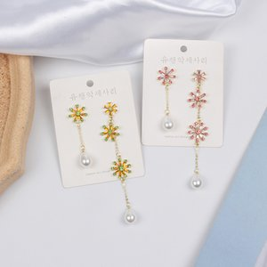 MWSONYA coréenne perle élégant Waterdrop cristal longue pour les femmes Boucle d'oreille en cristal Vintage Filles Party strass Big Dangle