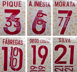 2016 España fuera rojo impresión fútbol conjunto de nombres PIQUE A.INIESTA SILVA letras de estampado del jugador impreso fútbol fuente pegatina de plástico impresa