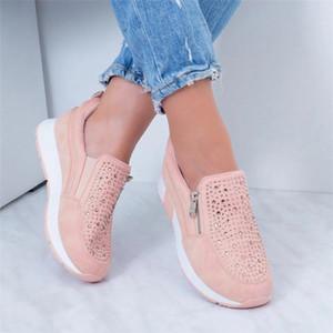 Sneakers signore di SAGACE caviglia delle donne maglia piatta Mocassino Zipper Flock romana Camouflage Casual Shoes Calzature Donne morbide nuove